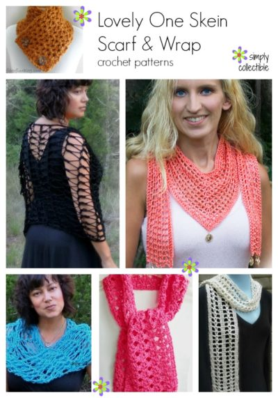 Lovely One Skein Scarf & Wrap crochet patterns on SimplyCollectibleCrochet.com
