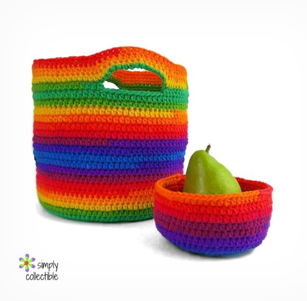 Everyday Bowl and crochet Basket pattern set – One Skein