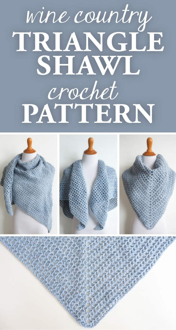 Are you looking for a shawl pattern that's perfect for just about any occasion? The Wine Country Triangle Shawl Crochet Pattern is what you're looking for.