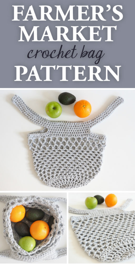 Farmer's Market Crochet Bag This bag is a great alternative to a tote, and is perfect for outings from shopping at the farmer's market and grocery store to carrying along snacks on road trips. #crochet #crochetbag #crochetpattern #crochetmarkettote