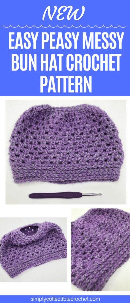 This hat pattern is crocheted much like a regular beanie, but allows you to leave an opening at the crown to pull your messy bun or high ponytail through. #crochet #crocheting #crochetlove #crochetlife #crochetaddict #crochê #croche #bhooked #happycrochet #addictedtocrochet #crochetpattern #crochethat
