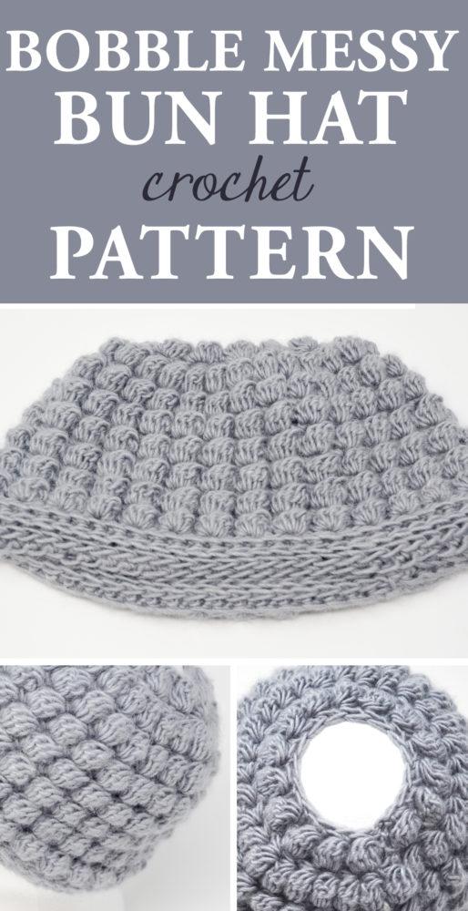 Bobble Messy Bun Hat #crochetpattern #crochethat #crochetlove