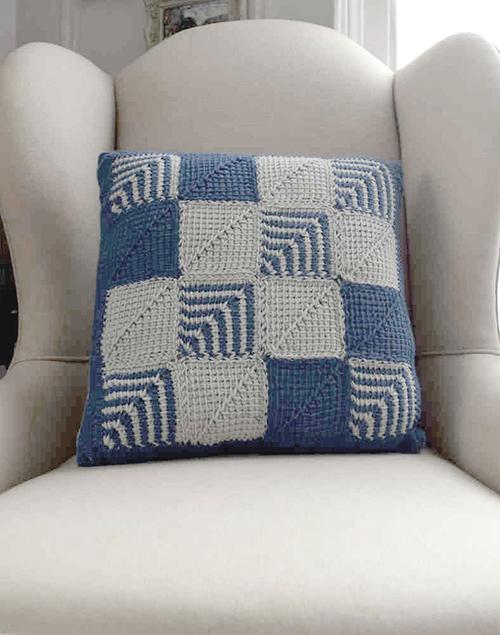 Mitered Square Crochet Pillow Tunisian Crochet Pattern