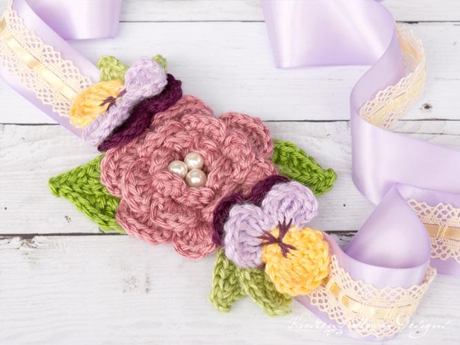 April Flowers Crochet Headband
