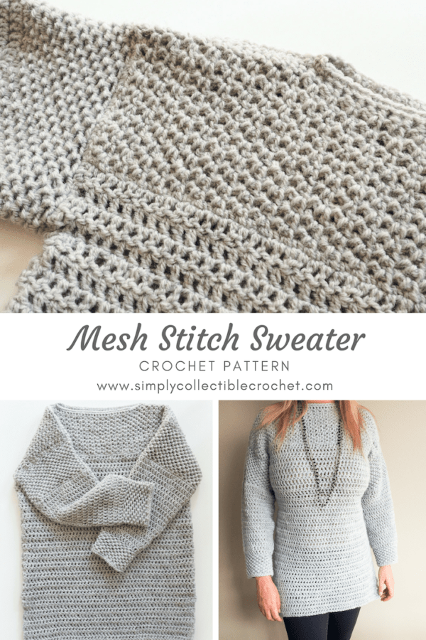 You'll be craving fall weather once you make the Mesh Stitch Sweater. This sweater is so stylish and is sure to become an instant classic! #crochettop #crochetpattern #crochetsweater #crochetjumper #crochetlove #crochetaddict