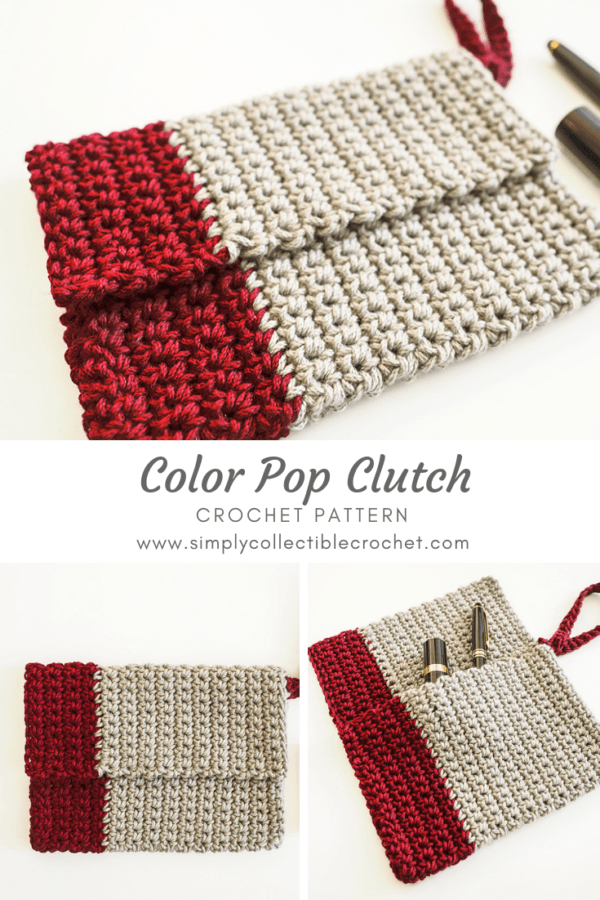 The Color Pop Clutch is so chic and trendy, and it's such a quick crochet you can make it in one sitting. #crochetpattern #crochetclutch #crochetbag #crochetlove #crochetaddict