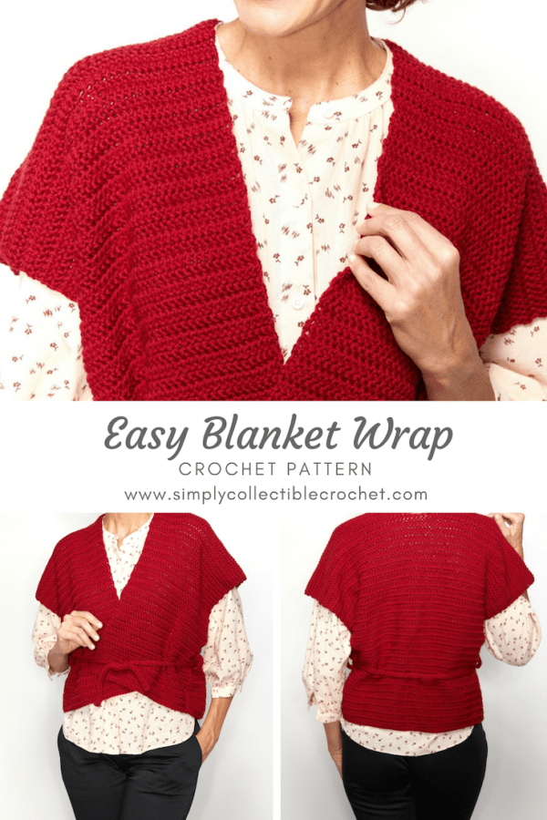 This Easy Blanket Wrap can be worn belted around like a cozy sweater top, or unwrapped like a light shawl. #crochetwrap #crochetpattern #crochetlove #crochetaddict
