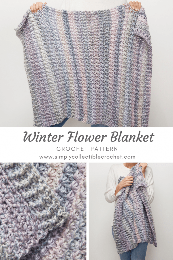 This crochet blanket is a unique pattern thanks to the beautiful daisy stitch. The Winter Flower Blanket is a really fun blanket for winter. #CrochetBlanket #CrochetPattern #CrochetAddict