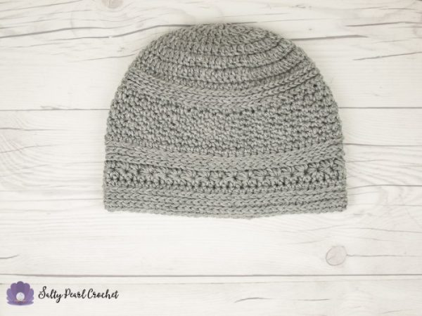 Free Silver Beach Crochet Beanie - These 14 crochet hat patterns for men are unique, fun to make and stylish. Pick up your hook and your favorite crochet beanie pattern and get stitching!  #crochethatpatterns #crochethatsformen #menscrochetbeanies
