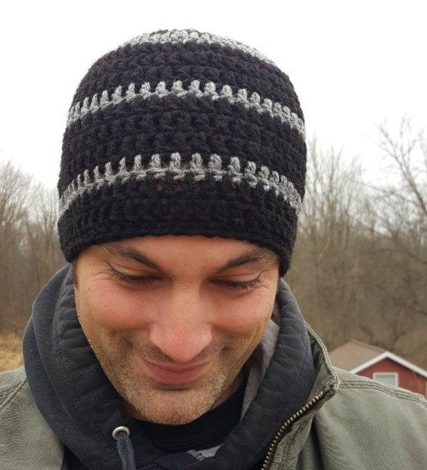Men's Crocheted Skull-Cap - These 14 crochet hat patterns for men are unique, fun to make and stylish. Pick up your hook and your favorite crochet beanie pattern and get stitching!  #crochethatpatterns #crochethatsformen #menscrochetbeanies