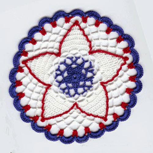 Petite Independence Day Doily - Crochet doily patterns are unique and a great investment of time. They take skill and attention to detail and are perfect for relaxing. #crochetpatterns #crochetdoilypatterns #freecrochetpatterns #crochetaddict