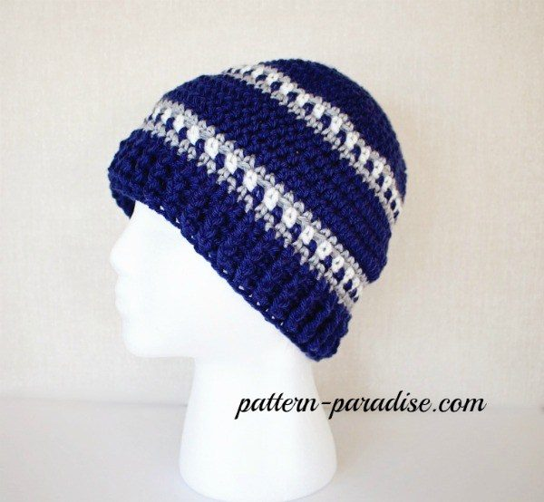 Snowy Day Hat Crochet Pattern - These 14 crochet hat patterns for men are unique, fun to make and stylish. Pick up your hook and your favorite crochet beanie pattern and get stitching!  #crochethatpatterns #crochethatsformen #menscrochetbeanies