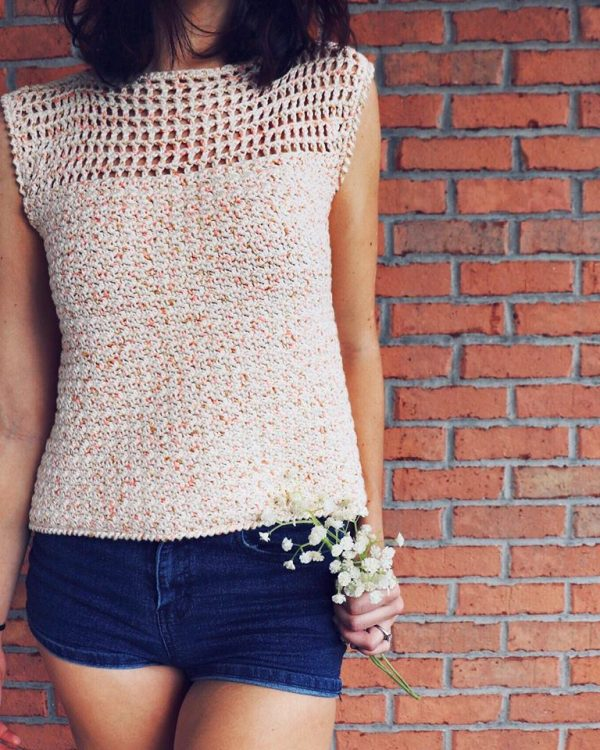 Dreamsicle Tee - Every one of these free crochet summer top patterns are cute and stylish. Grab a crochet hook and start making summer tops for everyone in your life. #FreeCrochetPatterns #CrochetSummerTops #CrochetSummerTopPatterns