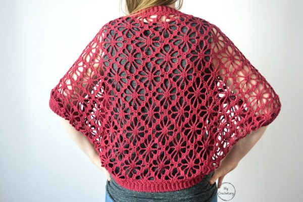 Meadow Lace Shrug - These crochet shrugs for women are cozy, comfortable and stylish. Everything you need to punp up your Fall/Winter wardrobe. #CrochetShrug #CrochetShrugPatterns #FreeCrochetPatterns