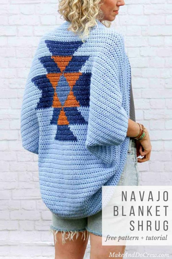 Navajo Blanket Shrug - These crochet shrugs for women are cozy, comfortable and stylish. Everything you need to punp up your Fall/Winter wardrobe. #CrochetShrug #CrochetShrugPatterns #FreeCrochetPatterns