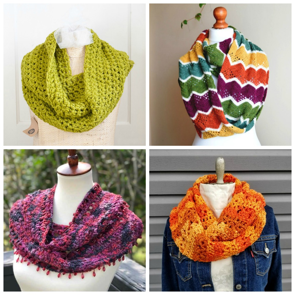 18 Cozy Crochet Infinity Scarf Patterns Perfect for Beginners - If you're thinking of an easy project to do this fall, look no further than these crochet infinity scarf patterns. #crochetscarf #crochetinfinityscarfpatterns #crochetpatterns