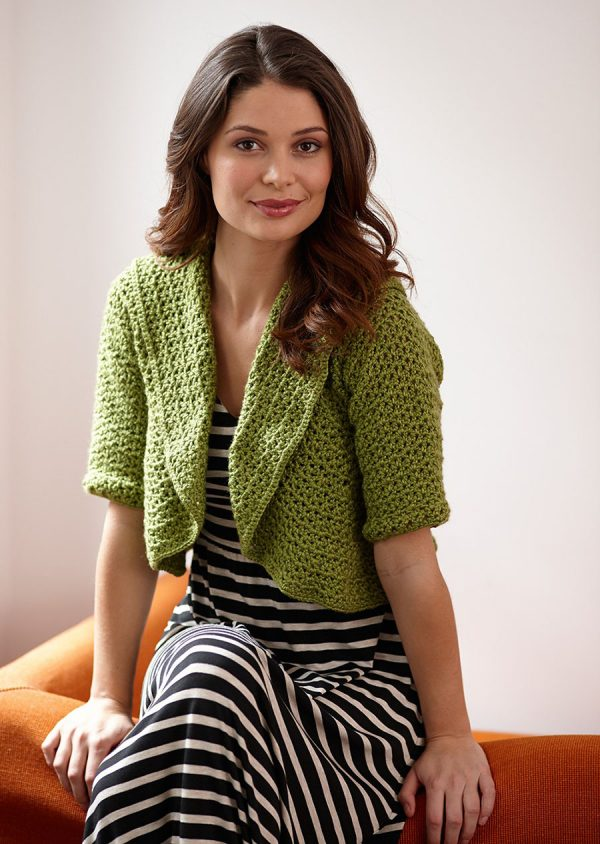 Circular Shrug - Interested in making a few shrugs for yourself and/or to gift? Check out these 27 beginner crochet shrug patterns! #crochetshrugpatterns #crochetpatterns #shrugcrochetpatterns