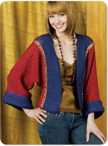 Kimono Shrug - Interested in making a few shrugs for yourself and/or to gift? Check out these 27 beginner crochet shrug patterns! #crochetshrugpatterns #crochetpatterns #shrugcrochetpatterns
