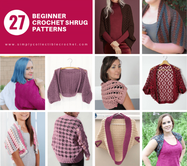 27 Beginner Crochet Shrug Patterns - Interested in making a few shrugs for yourself and/or to gift? Check out these 27 beginner crochet shrug patterns! #crochetshrugpatterns #crochetpatterns #shrugcrochetpatterns