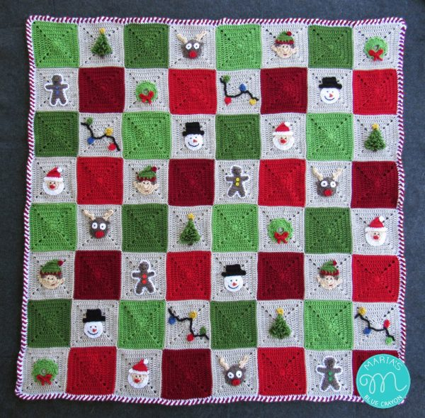 Christmas Granny Square Afghan - This holiday season have tons of fun creating these fun and festive granny squares crochet patterns for whatever project you have in mind. #grannysquarepatterns #crochetpatterns #Holidaygrannysquarepatterns