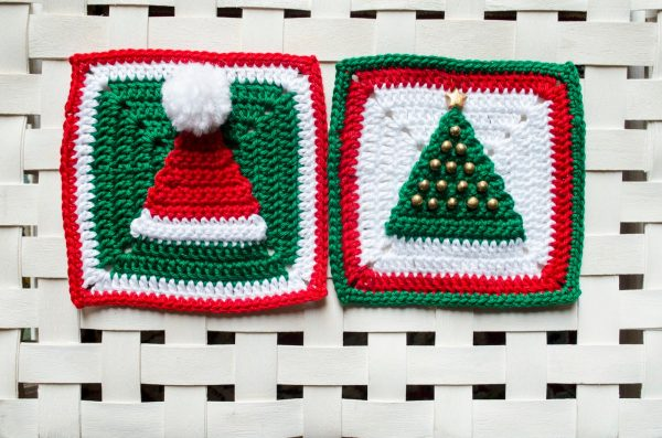 Christmas Hat and Tree Granny Squares - This holiday season have tons of fun creating these fun and festive granny squares crochet patterns for whatever project you have in mind. #grannysquarepatterns #crochetpatterns #Holidaygrannysquarepatterns
