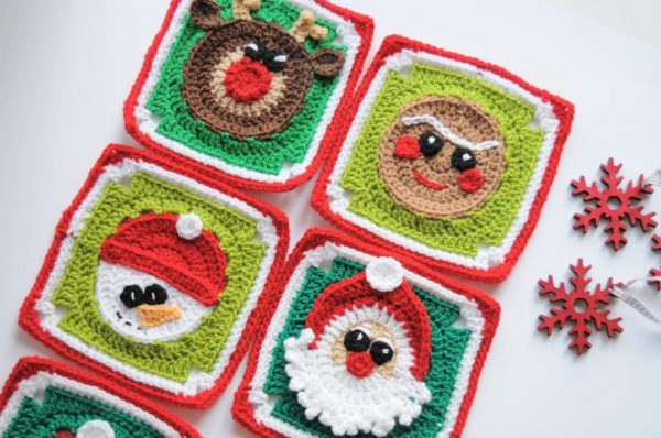 Christmas Spirit- Granny Squares Collection - This holiday season have tons of fun creating these fun and festive granny squares crochet patterns for whatever project you have in mind. #grannysquarepatterns #crochetpatterns #Holidaygrannysquarepatterns