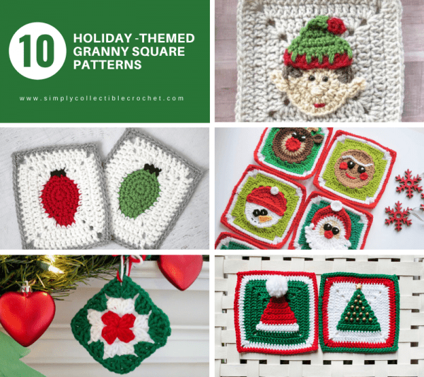 12 Holiday-themed Granny Square Patterns - This holiday season have tons of fun creating these fun and festive granny squares crochet patterns for whatever project you have in mind. #grannysquarepatterns #crochetpatterns #Holidaygrannysquarepatterns