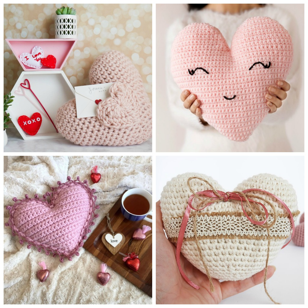 14 Valentines' Crochet Pillow Patterns - Start making these cuddly crochet pillows, and you'll have all the hearts you can give when the day of love arrives! #crochetpillows #crochetpatterns #valentinecrochetpillows